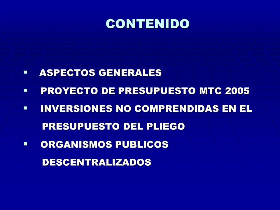 CONTENIDO ASPECTOS GENERALES PROYECTO DE PRESUPUESTO MTC 2005