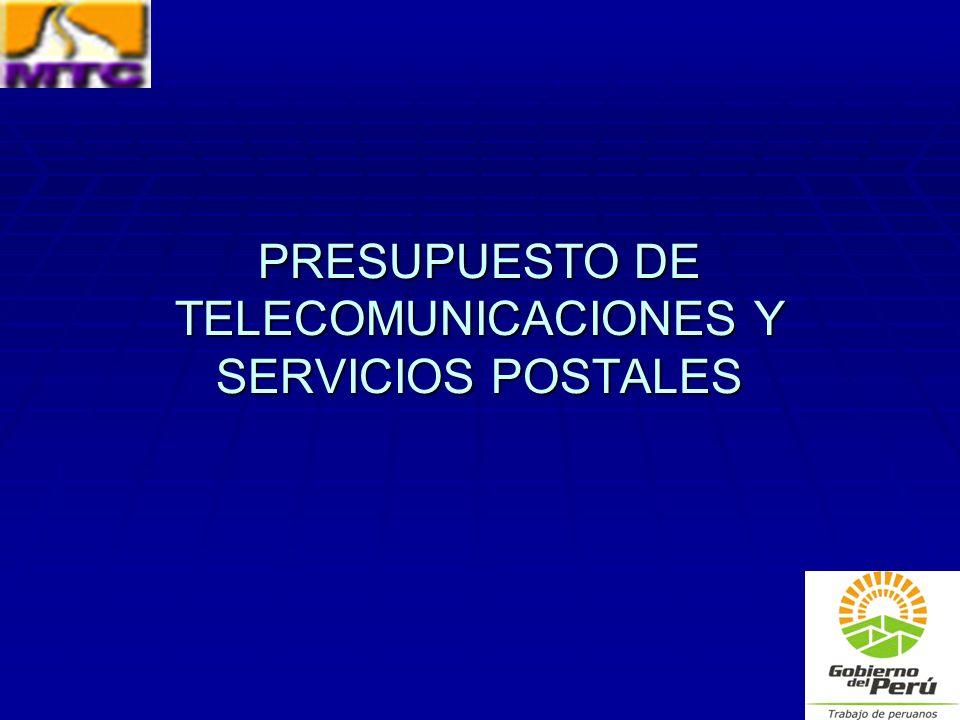 PRESUPUESTO DE TELECOMUNICACIONES Y SERVICIOS POSTALES