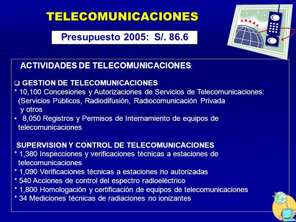 TELECOMUNICACIONES Presupuesto 2005: S/. 86.6