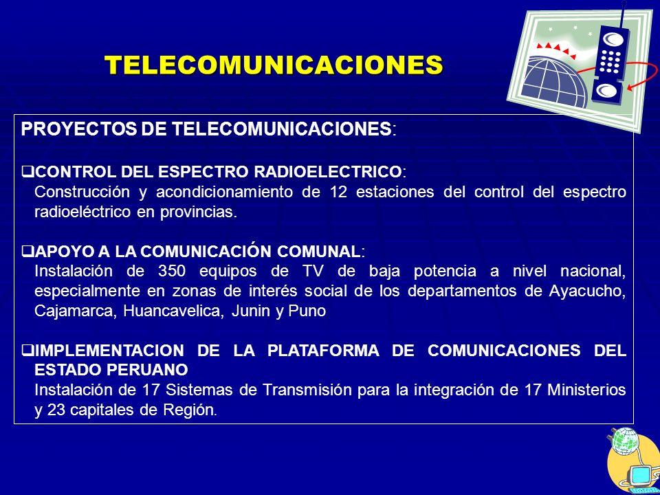 TELECOMUNICACIONES PROYECTOS DE TELECOMUNICACIONES: