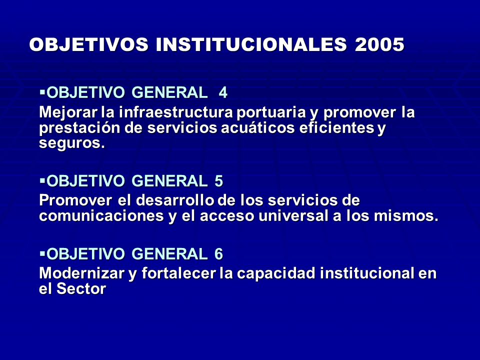 OBJETIVOS INSTITUCIONALES 2005