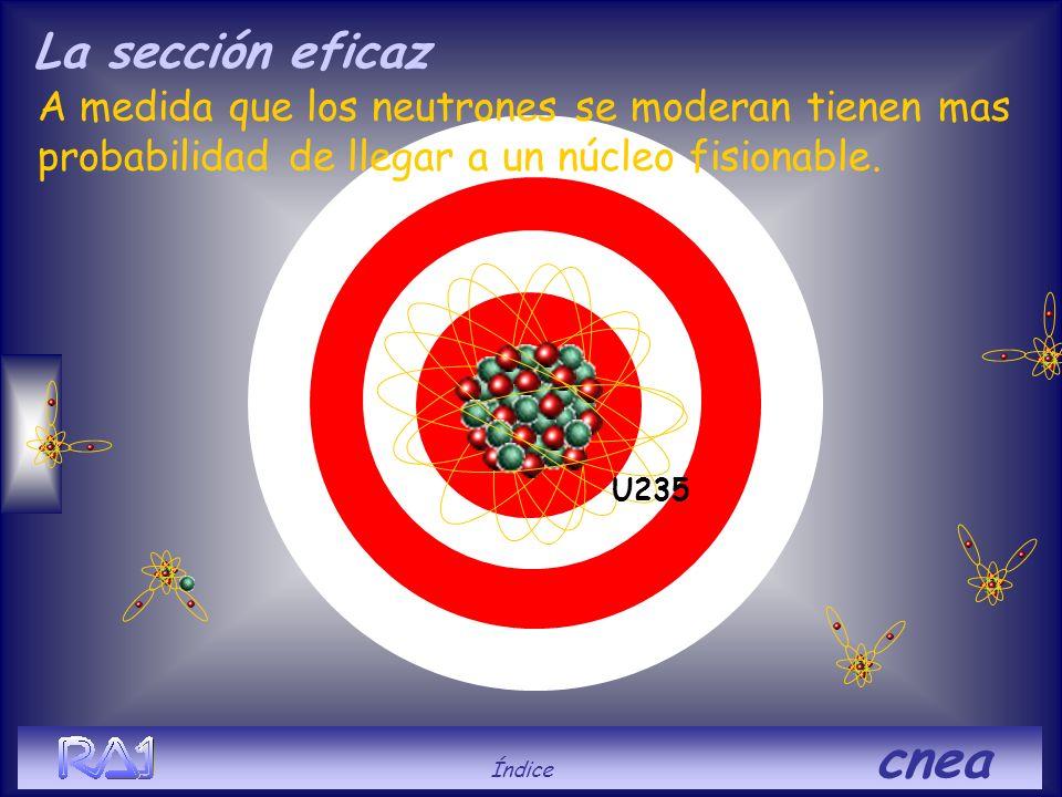 La sección eficaz A medida que los neutrones se moderan tienen mas probabilidad de llegar a un núcleo fisionable.
