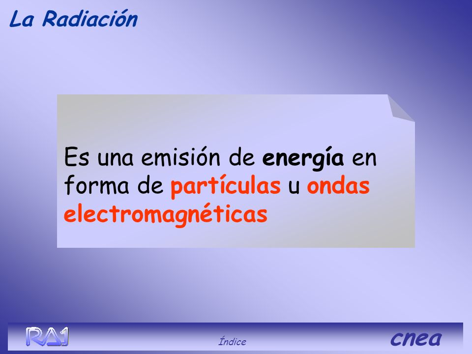 La Radiación Es una emisión de energía en forma de partículas u ondas electromagnéticas.