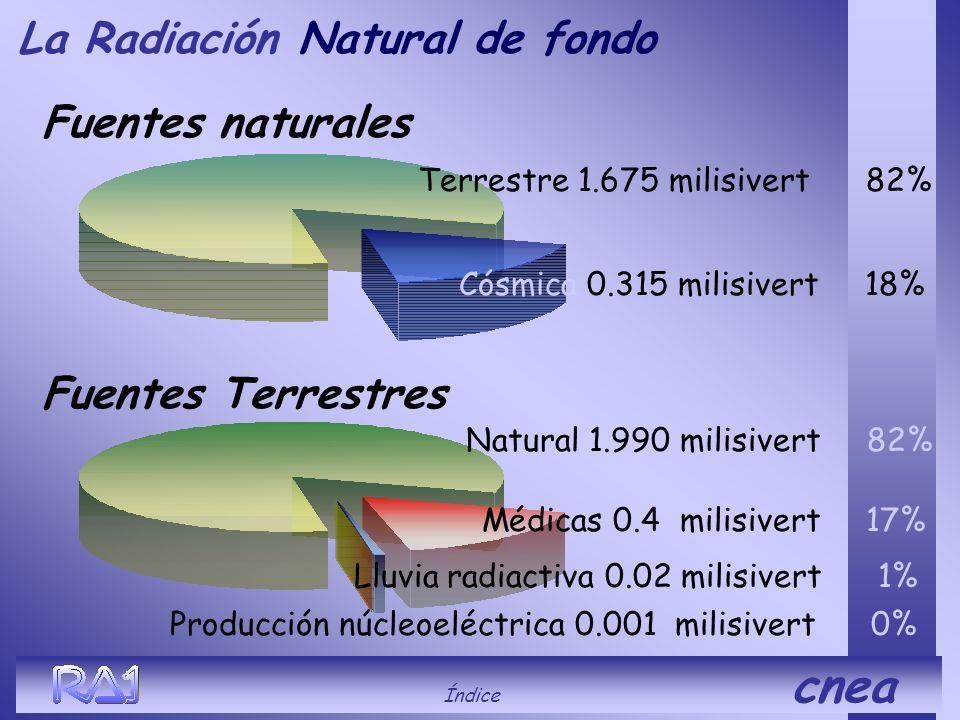 La Radiación Natural de fondo Fuentes naturales Fuentes Terrestres