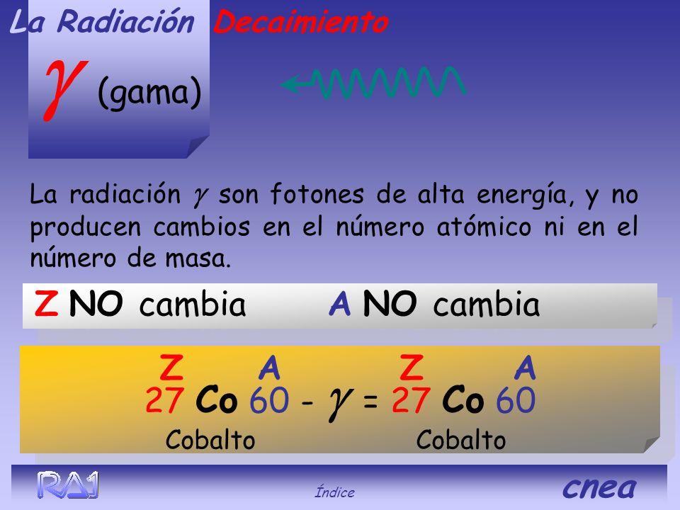 g (gama) Z NO cambia A NO cambia Z A Z A 27 Co 60 - g = 27 Co 60