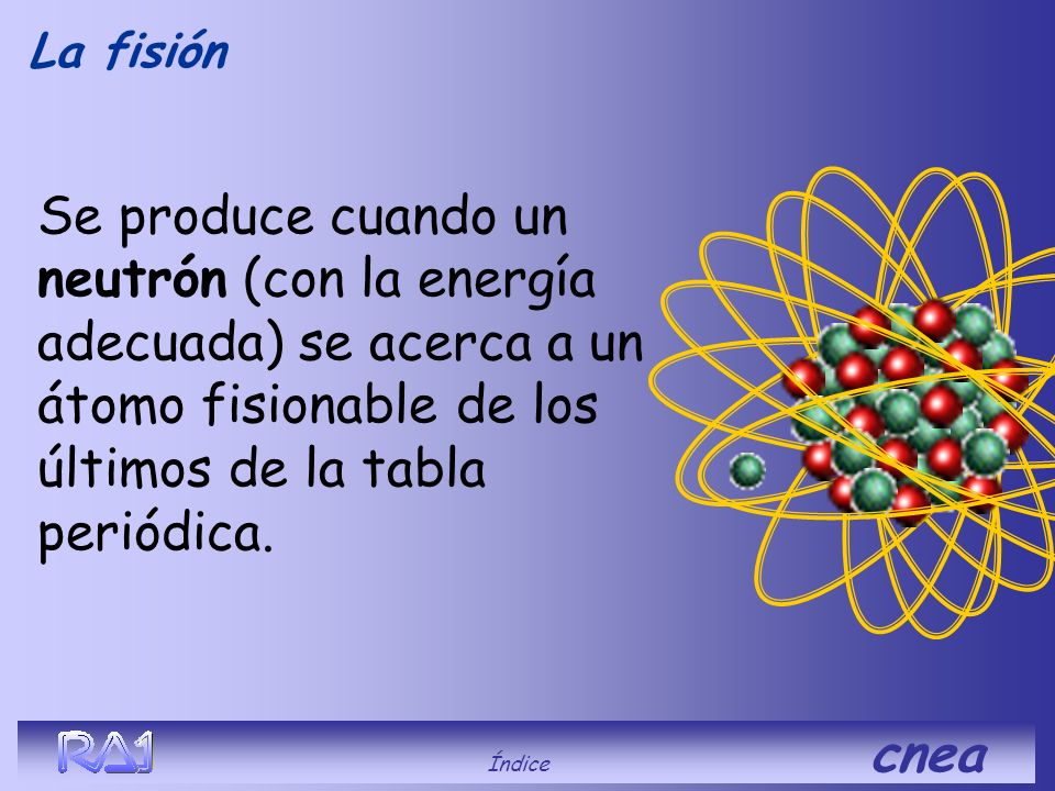 La fisión Se produce cuando un neutrón (con la energía adecuada) se acerca a un átomo fisionable de los últimos de la tabla periódica.
