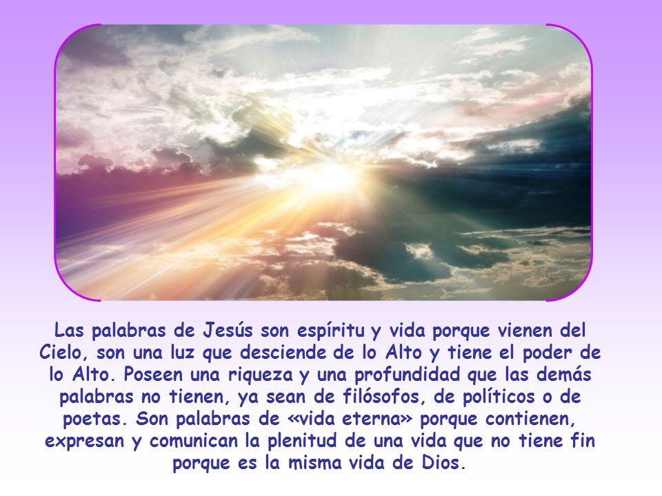 Las palabras de Jesús son espíritu y vida porque vienen del Cielo, son una luz que desciende de lo Alto y tiene el poder de lo Alto.