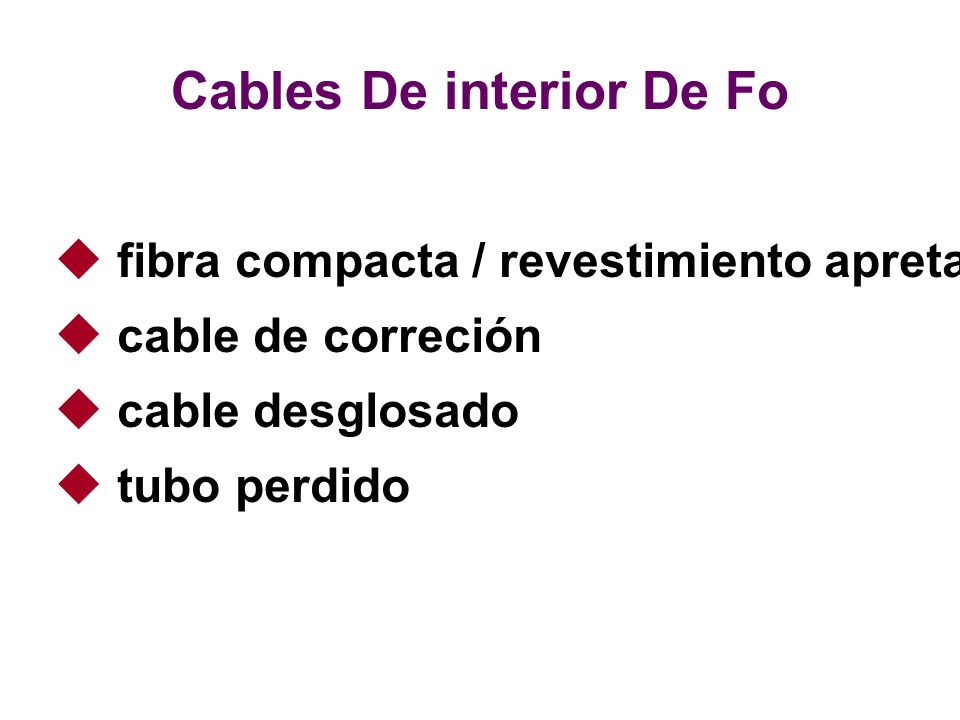 Cables De interior De Fo