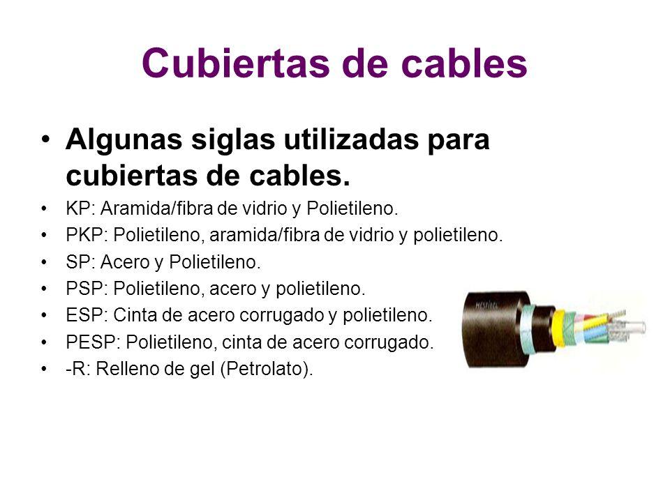 Cubiertas de cables Algunas siglas utilizadas para cubiertas de cables. KP: Aramida/fibra de vidrio y Polietileno.