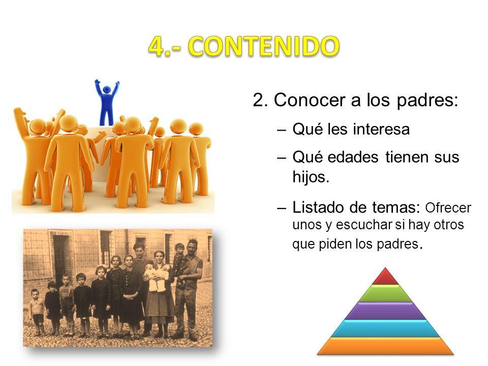 4.- CONTENIDO 2. Conocer a los padres: Qué les interesa