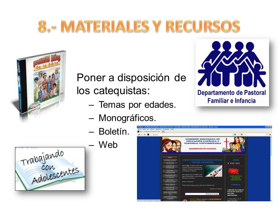 8.- MATERIALES Y RECURSOS