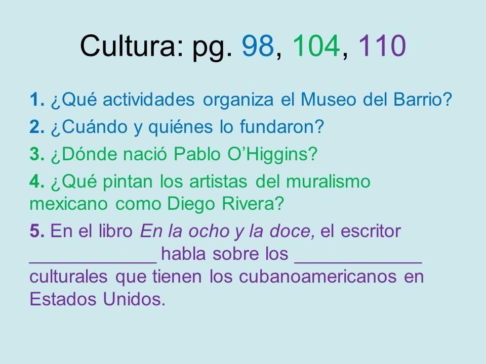 Cultura: pg. 98, 104, 110