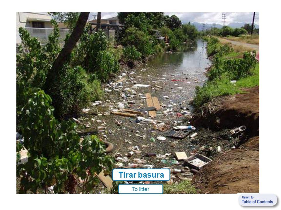 Tirar basura To litter