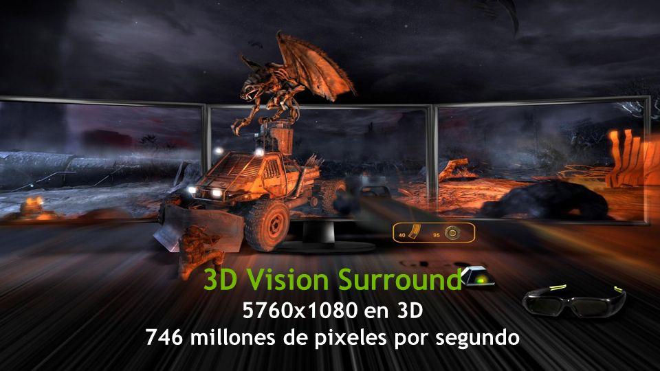 3D Vision Surround 5760x1080 en 3D 746 millones de pixeles por segundo