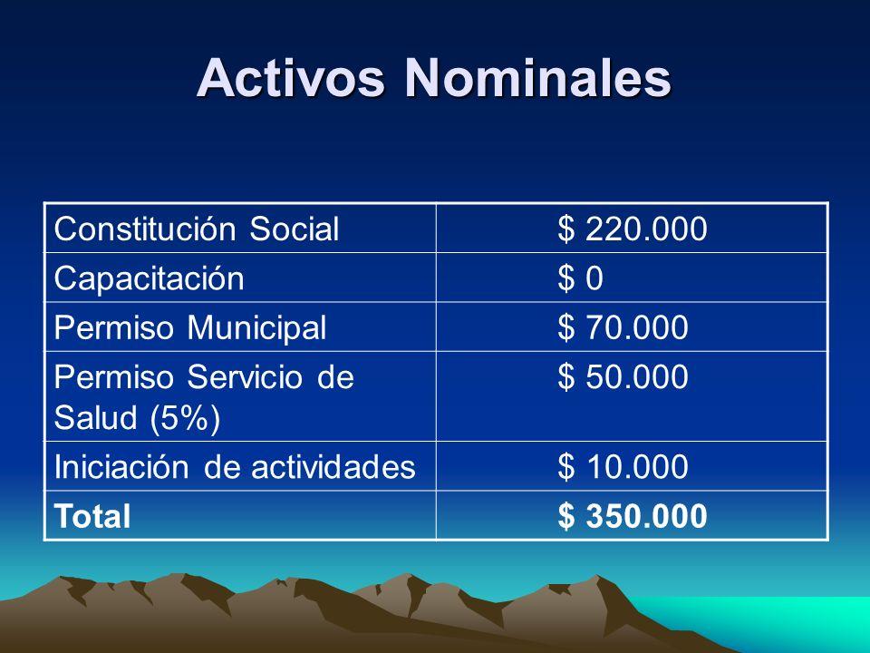 Activos Nominales Constitución Social $ 220.000 Capacitación $ 0