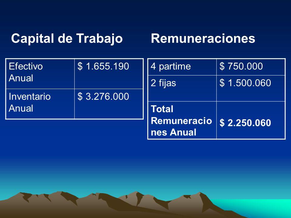 Capital de Trabajo Remuneraciones Efectivo Anual $ 1.655.190