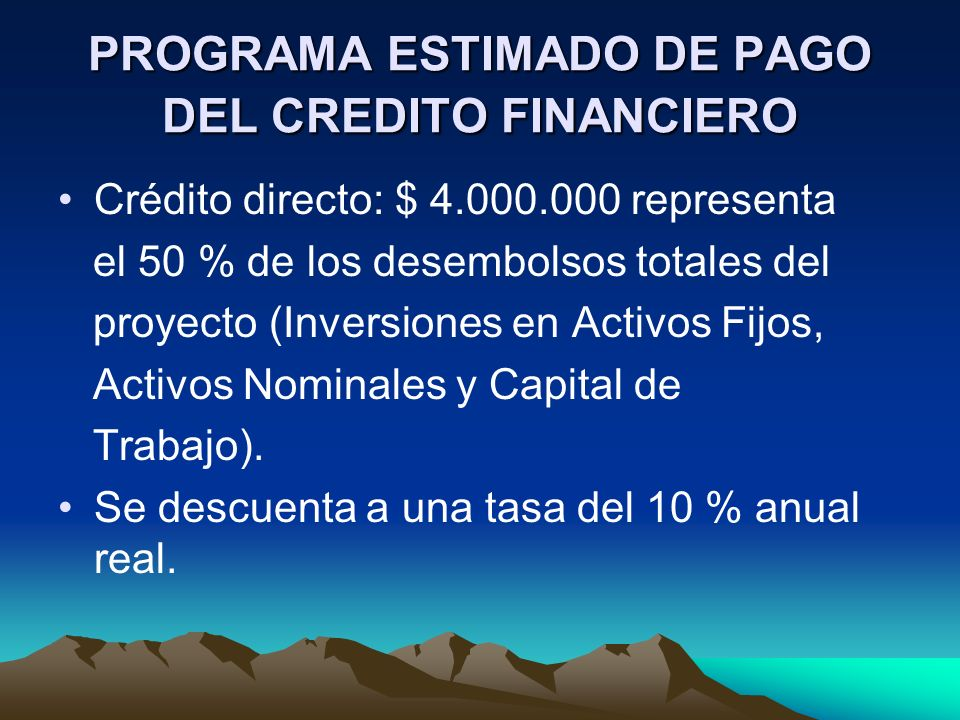 PROGRAMA ESTIMADO DE PAGO DEL CREDITO FINANCIERO