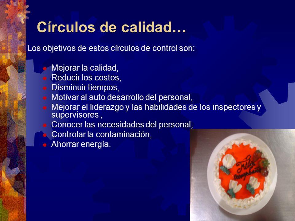 Círculos de calidad… Los objetivos de estos círculos de control son:
