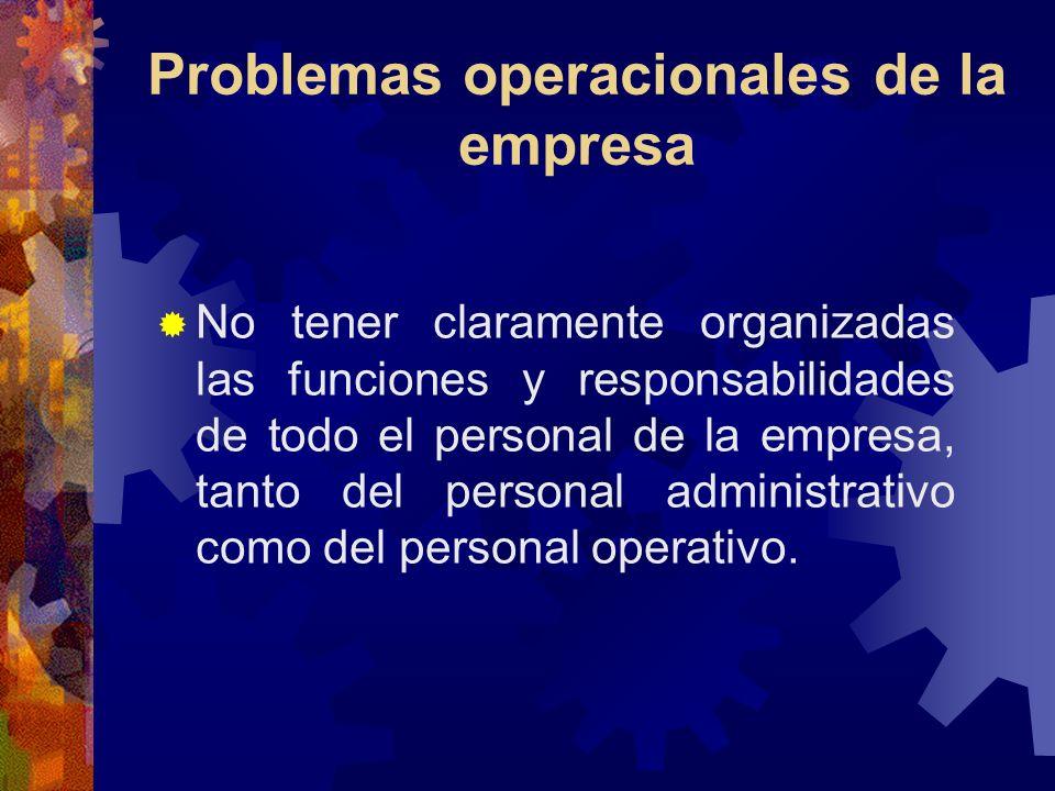 Problemas operacionales de la empresa