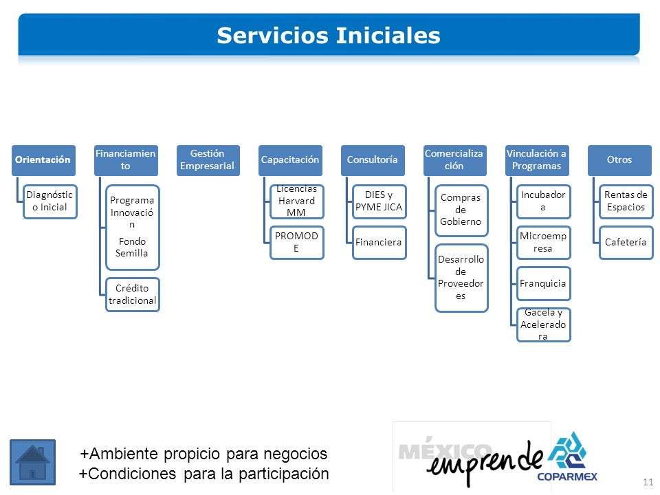 Servicios Iniciales +Ambiente propicio para negocios
