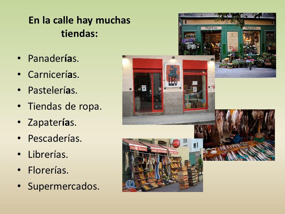 En la calle hay muchas tiendas: