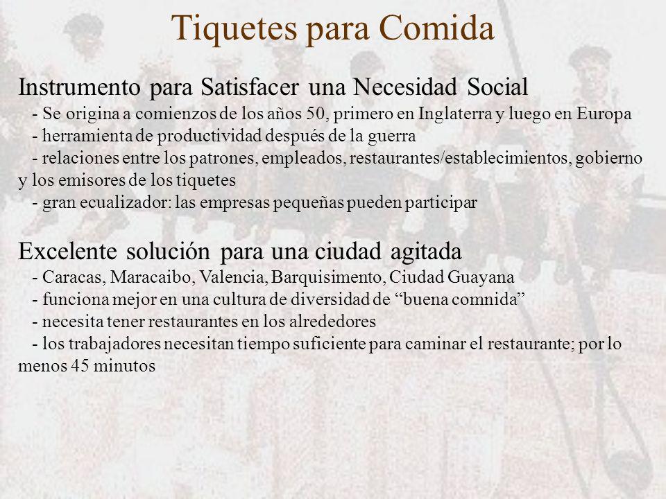 Tiquetes para Comida Instrumento para Satisfacer una Necesidad Social