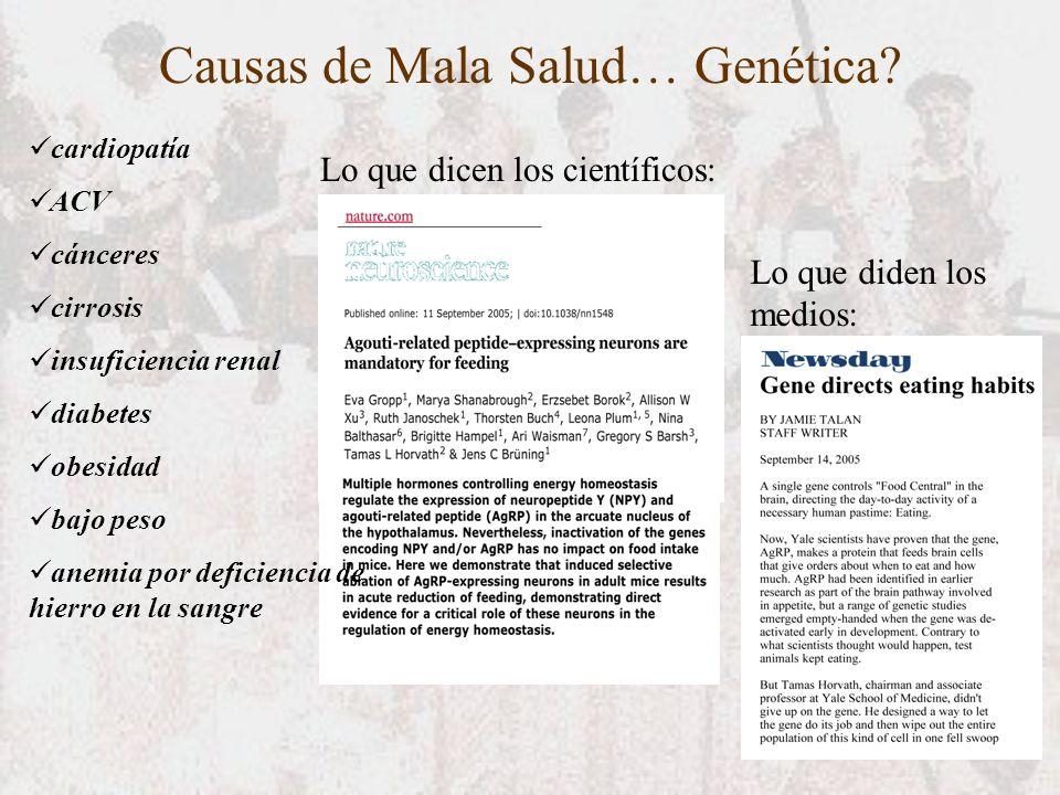 Causas de Mala Salud… Genética