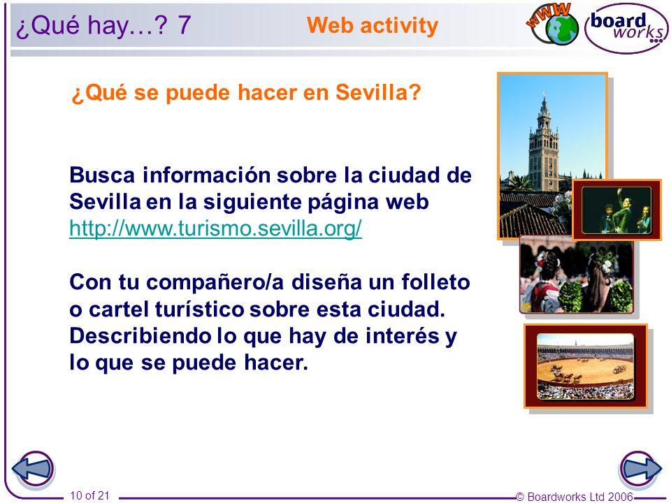 ¿Qué hay… 7 Web activity ¿Qué se puede hacer en Sevilla