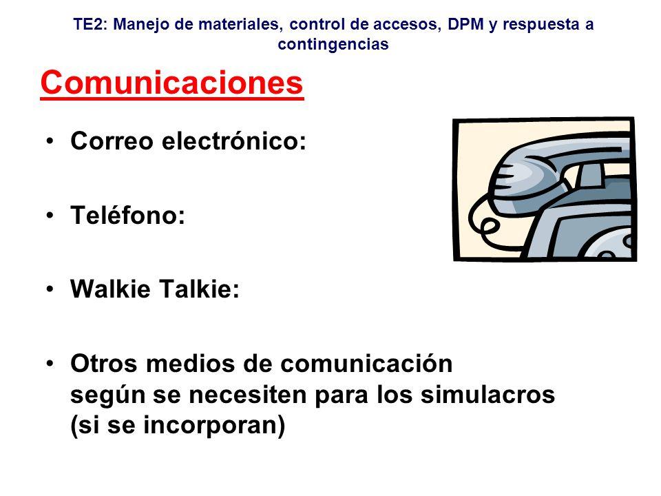 Comunicaciones Correo electrónico: Teléfono: Walkie Talkie:
