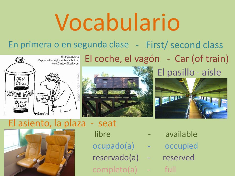 Vocabulario - First/ second class El coche, el vagón - Car (of train)