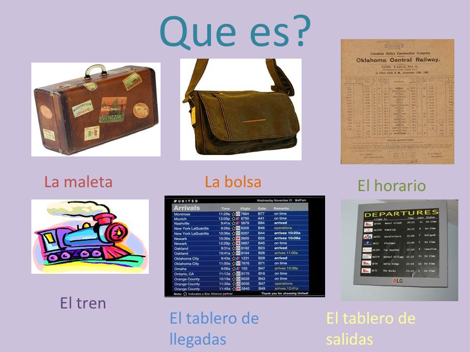 Que es La maleta La bolsa El horario El tren El tablero de llegadas