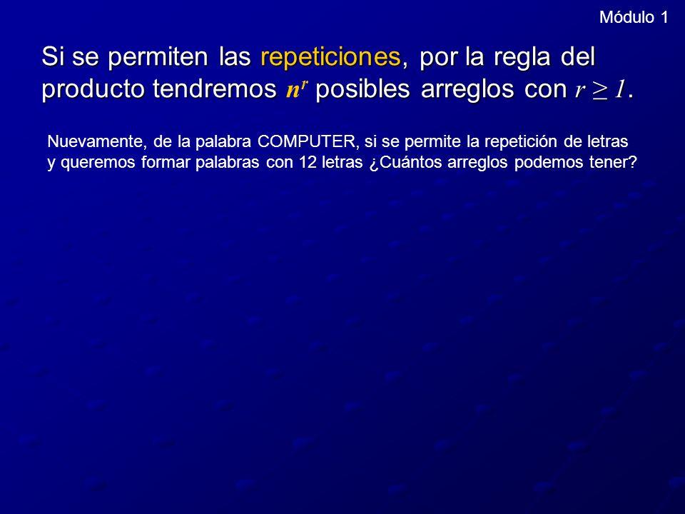 Módulo 1 Si se permiten las repeticiones, por la regla del producto tendremos nr posibles arreglos con r ≥ 1.