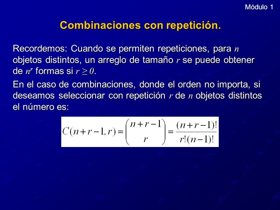Combinaciones con repetición.