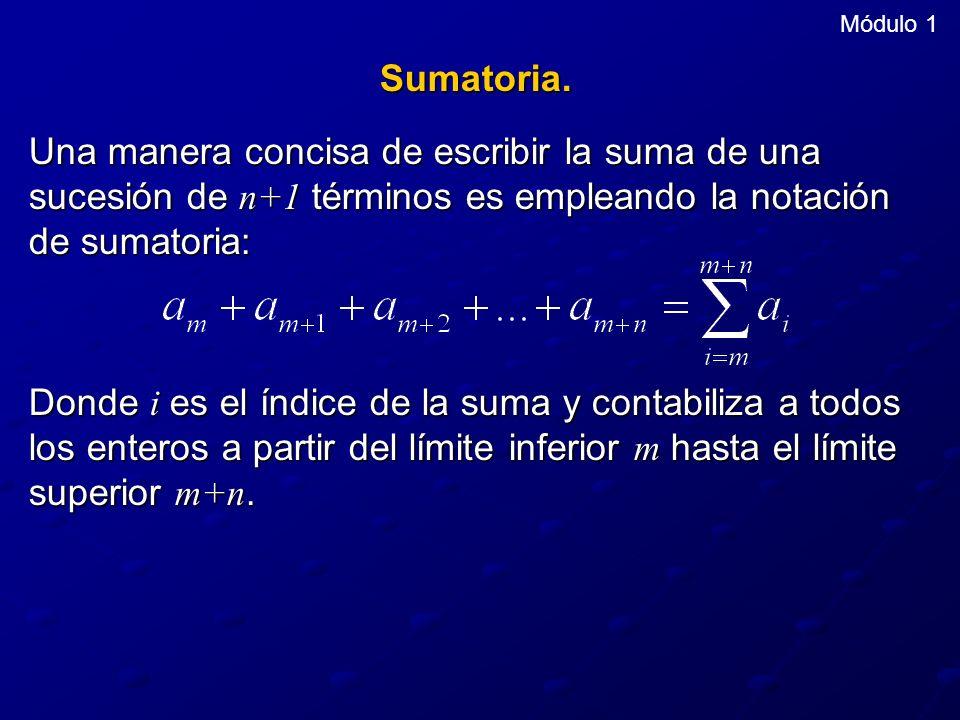 Módulo 1 Sumatoria. Una manera concisa de escribir la suma de una sucesión de n+1 términos es empleando la notación de sumatoria: