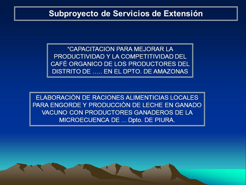 Subproyecto de Servicios de Extensión