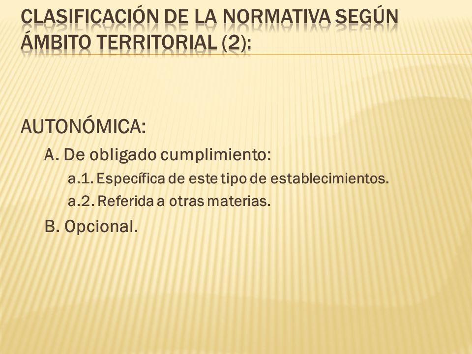 CLASIFICACIÓN DE LA NORMATIVA SEGÚN ÁMBITO TERRITORIAL (2):