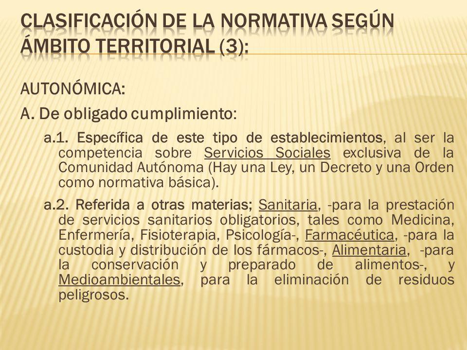 CLASIFICACIÓN DE LA NORMATIVA SEGÚN ÁMBITO TERRITORIAL (3):