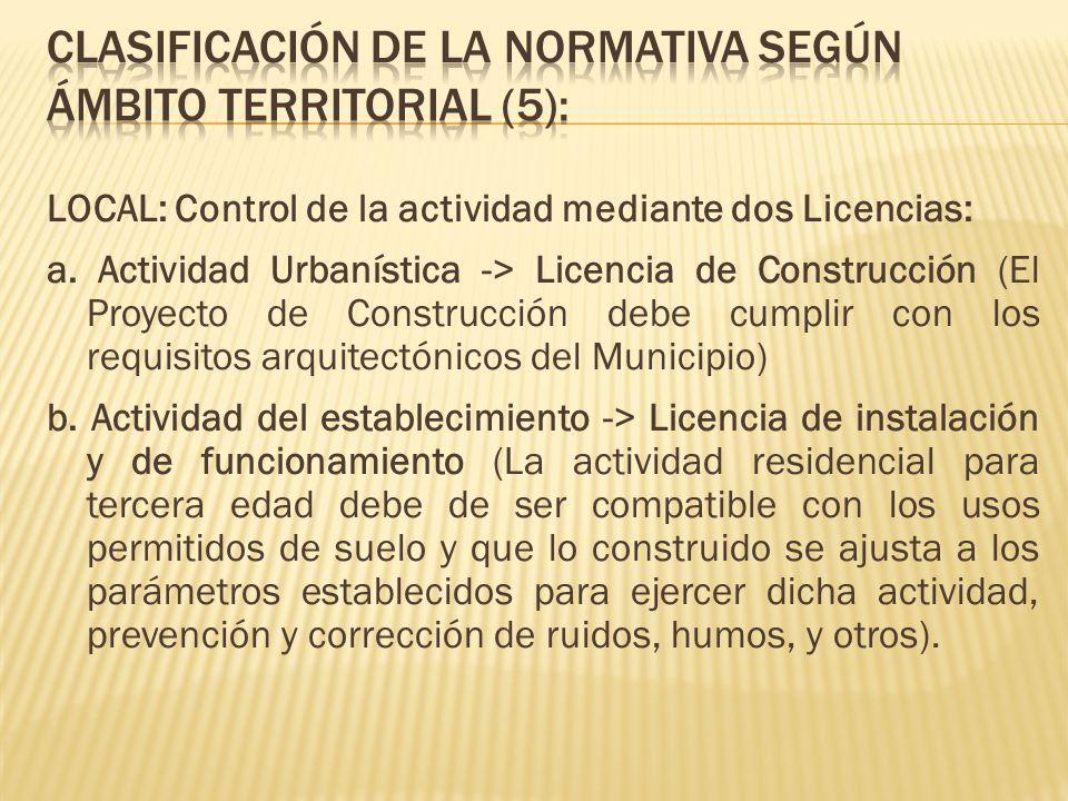 CLASIFICACIÓN DE LA NORMATIVA SEGÚN ÁMBITO TERRITORIAL (5):