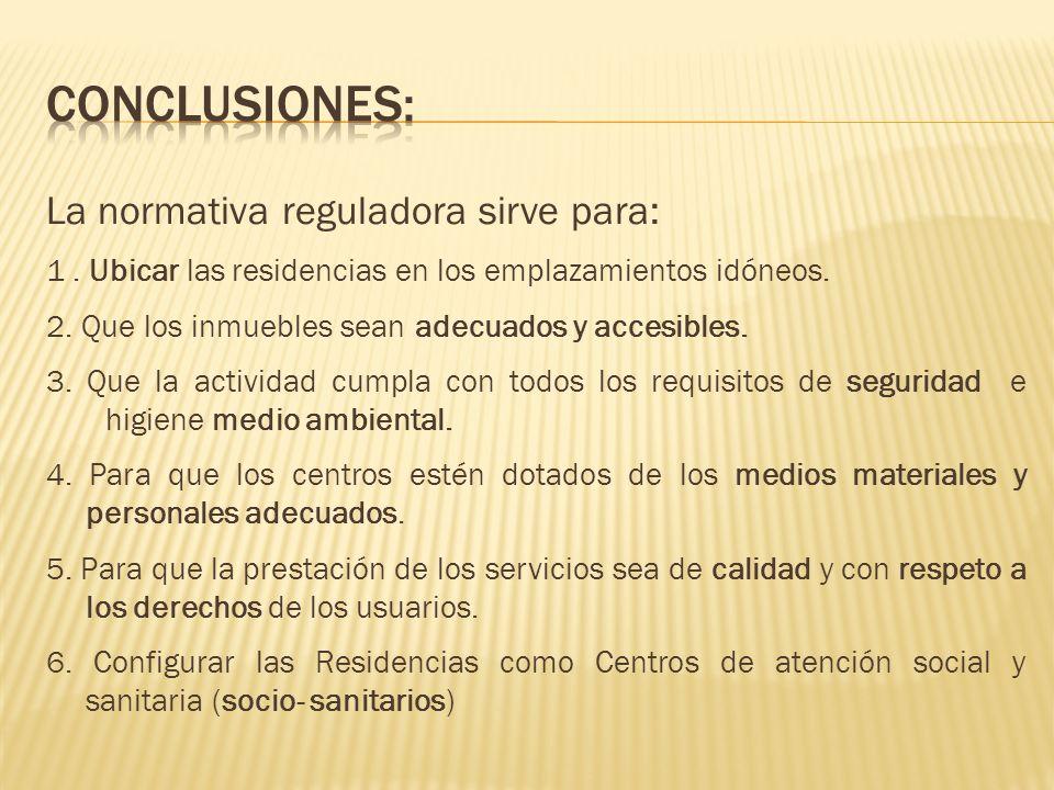CONCLUSIONES: La normativa reguladora sirve para: