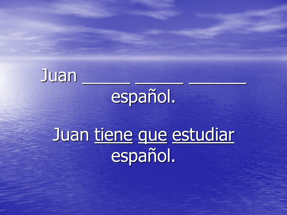 Juan _____ _____ ______ español.