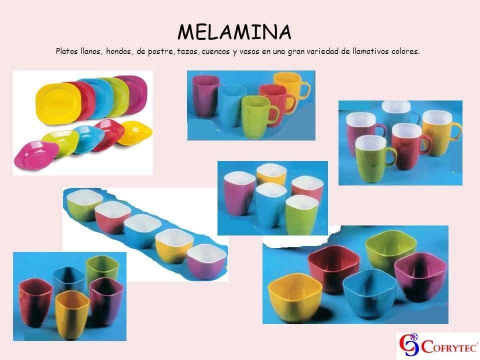 MELAMINA Platos llanos, hondos, de postre, tazas, cuencos y vasos en una gran variedad de llamativos colores.