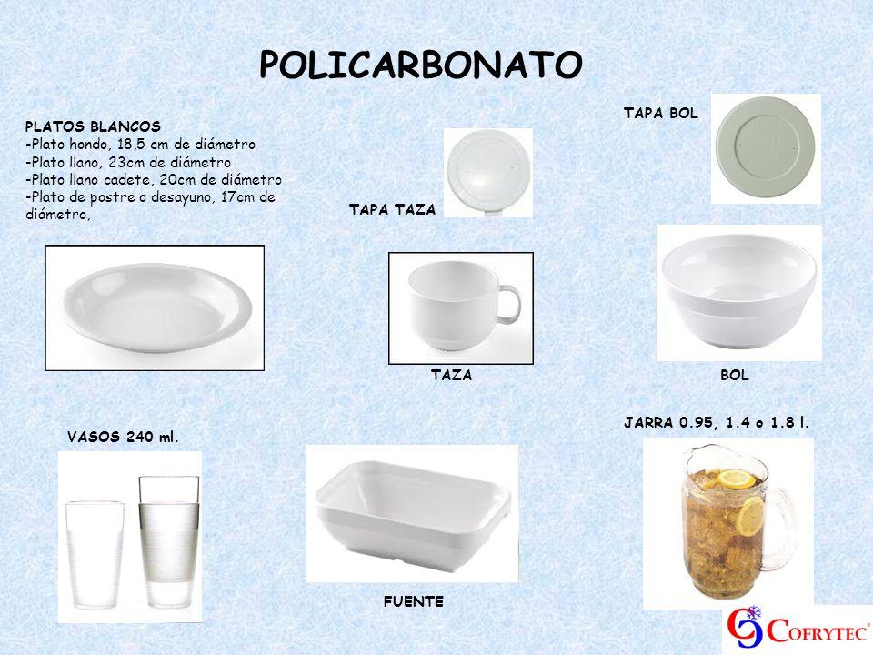 POLICARBONATO TAPA BOL PLATOS BLANCOS