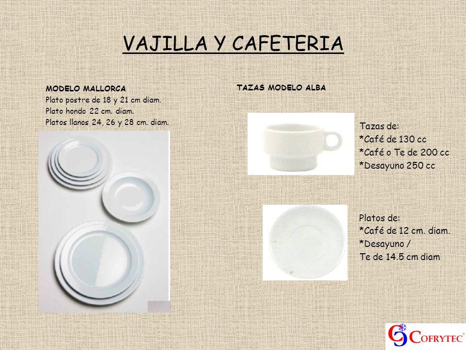 VAJILLA Y CAFETERIA TAZAS MODELO ALBA Tazas de: *Café de 130 cc