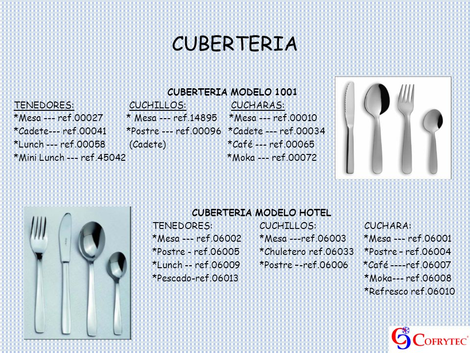 CUBERTERIA MODELO HOTEL