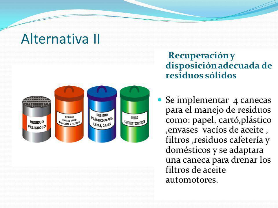 Alternativa II Recuperación y disposición adecuada de residuos sólidos