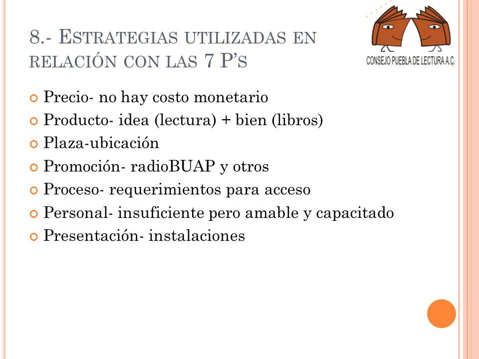 8.- Estrategias utilizadas en relación con las 7 P's