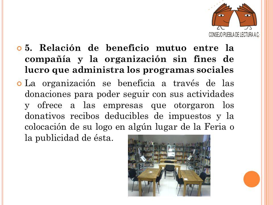 5. Relación de beneficio mutuo entre la compañía y la organización sin fines de lucro que administra los programas sociales