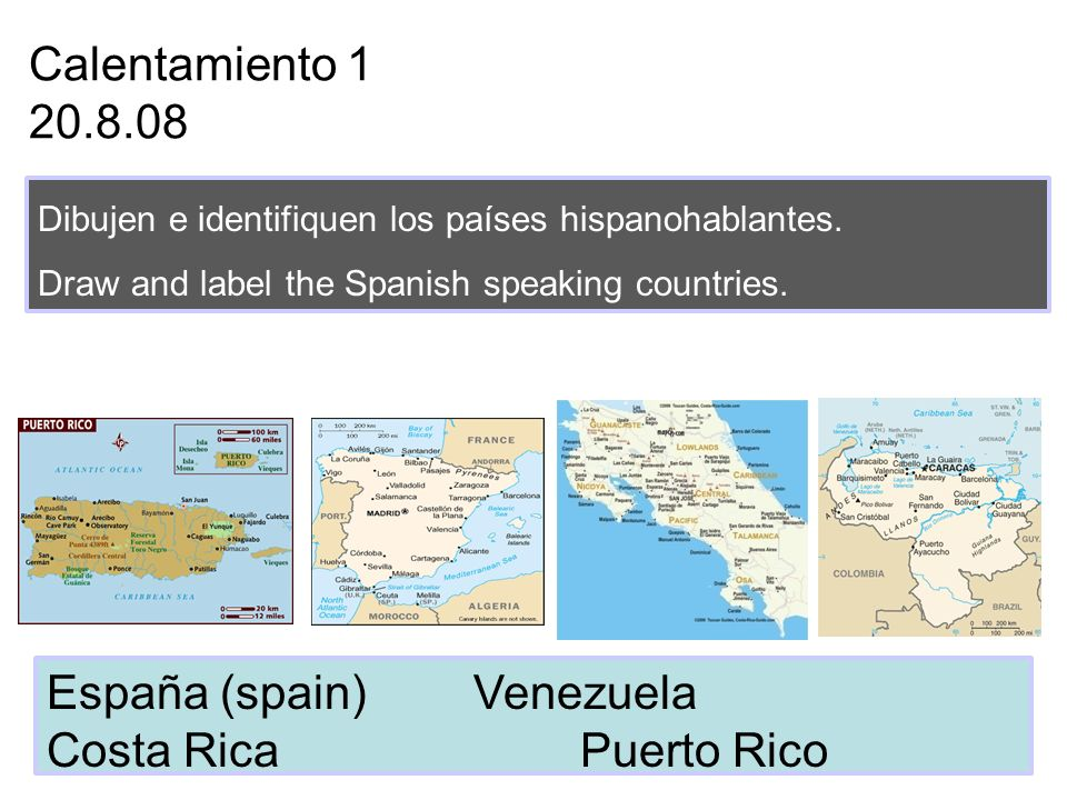España (spain) Venezuela Costa Rica Puerto Rico