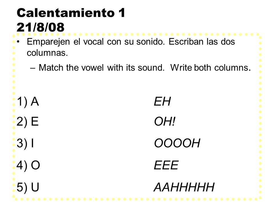 Calentamiento 1 21/8/08 1) A EH 2) E OH! 3) I OOOOH 4) O EEE