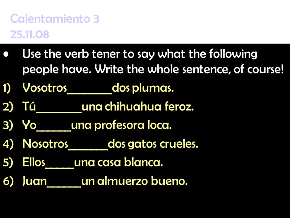 Calentamiento 3 25.11.08 Use the verb tener to say what the following people have. Write the whole sentence, of course!